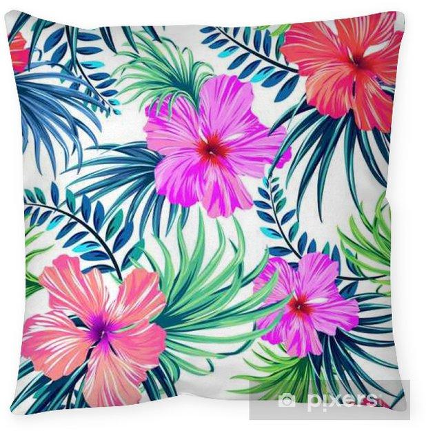 Decoratief sierkussen Naadloze tropische bloemenpatroon. hibiscus en palmbladeren op een witte achtergrond. aloha klassieke motieven in een sappige kleurrijk patroon ontwerp. - Bloemen en Planten