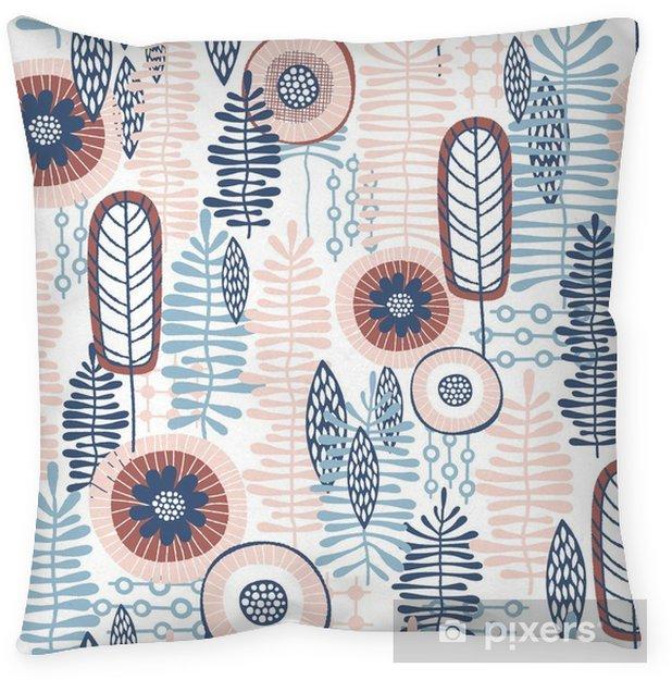 Decoratief sierkussen Naadloze vector bloemmotief met blauwe en koraal roze tinten van kleuren die kunnen worden gebruikt voor uw wallpapers, achtergronden, achtergrondafbeeldingen, patronen van de stof, kledingafdrukken, etiketten, ambachten en anderen - Grafische Bronnen