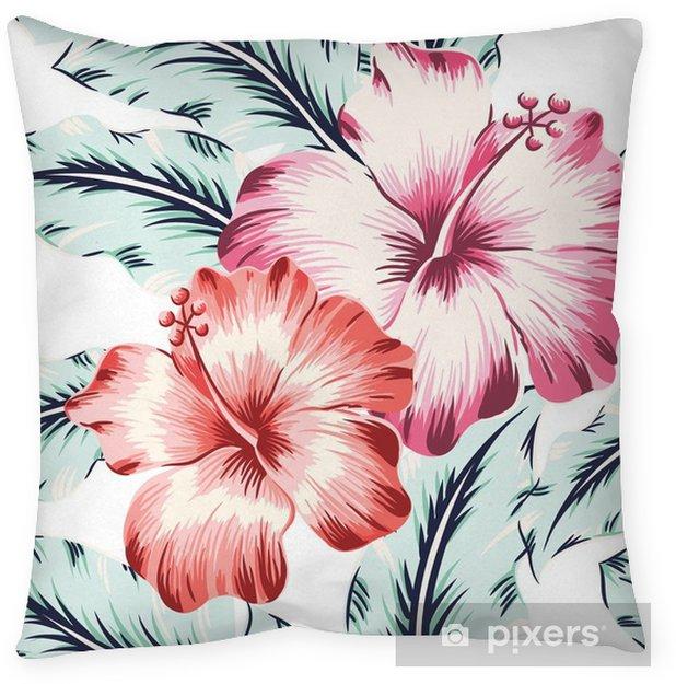 Decoratief sierkussen Roze en rode hibiscuses met bladeren op de witte achtergrond. vector naadloos patroon met tropische bloemen. lichte kleuren. - Bloemen en Planten