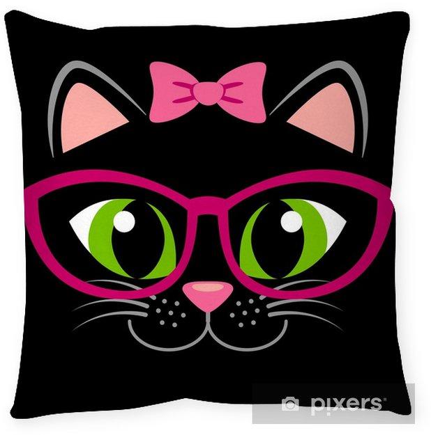Decoratief sierkussen Schattig zwart katje met roze strik en bril. meisjesachtige print met kat voor t-shirt - Dieren