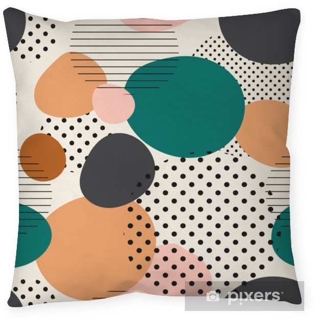 Decoratief sierkussen Trendy naadloze patroon van geometrische vormen en doodles. kleurrijke patroon memphis stijl - Grafische Bronnen