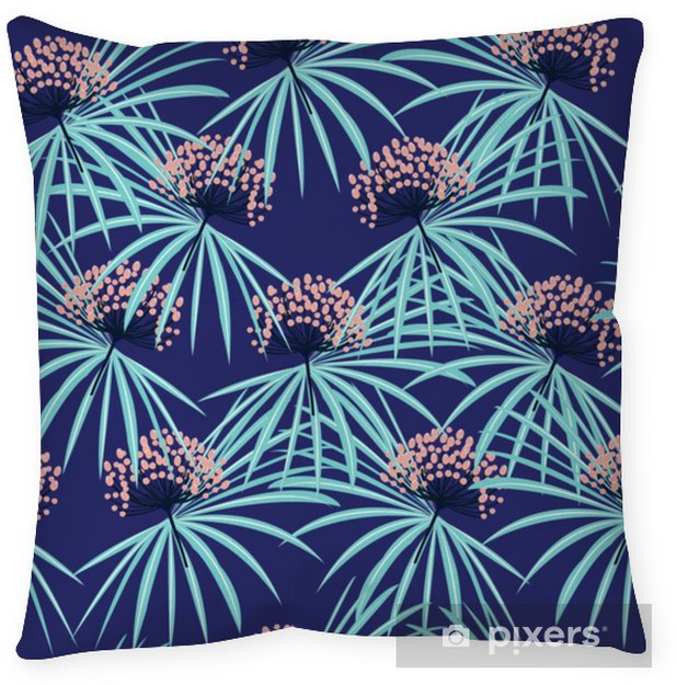 Decoratief sierkussen Trendy naadloze vector zomer patroon wilde bloemen achtergrond met tropische palmbladeren. perfect voor achtergronden, webpagina-achtergronden, - Grafische Bronnen