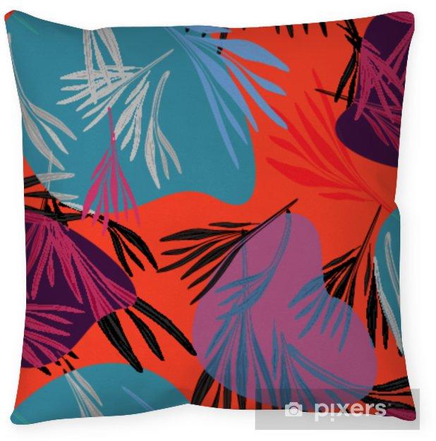 Decoratief sierkussen Tropische kleurrijke palm blad achtergrond. vector heldere zomer floral illustratie. gebladerte natuur boomstructuur. exotische bosplant .. - Grafische Bronnen