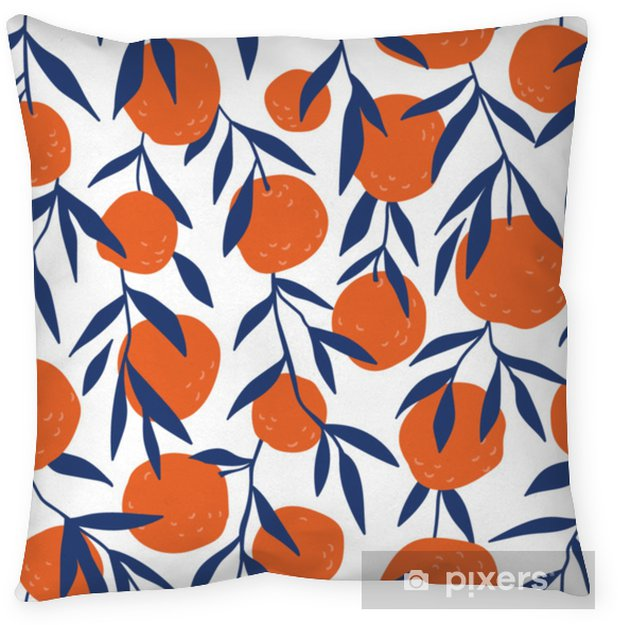 Decoratief sierkussen Tropische naadloze patroon met rode sinaasappelen. fruit herhaalde achtergrond. vector heldere afdruk voor stof of behang. - Grafische Bronnen