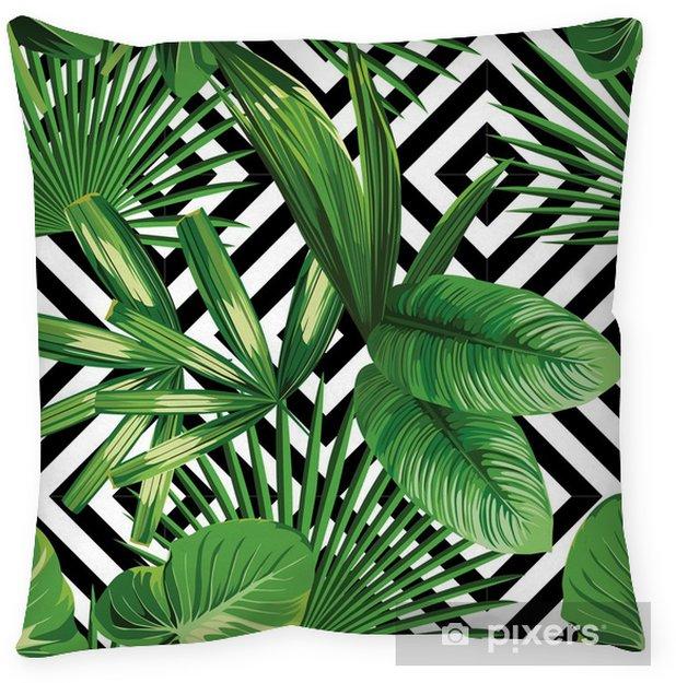 Decoratief sierkussen Tropische palm verlaat patroon, geometrische achtergrond - Canvas Prints Sold