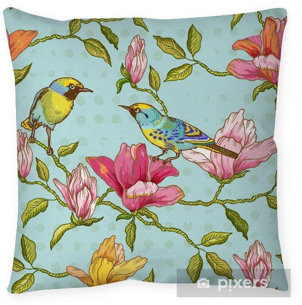 Decoratief sierkussen Uitstekende Naadloze Achtergrond - Bloemen en Vogels - Seizoenen
