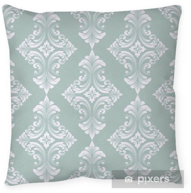 Decoratief sierkussen Vector damast naadloze patroon achtergrond. klassieke luxe ouderwetse damast ornament, Koninklijke Victoriaanse naadloze textuur voor achtergronden, textiel, onmiddellijke verpakking. prachtige bloemen barokke sjabloon - Grafische Bronnen