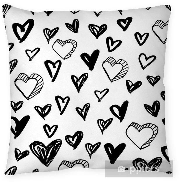 Decoratief sierkussen Vector naadloze harten patroon. zwart-witte achtergrond gemaakt met waterverf, inkt en markering. - Grafische Bronnen