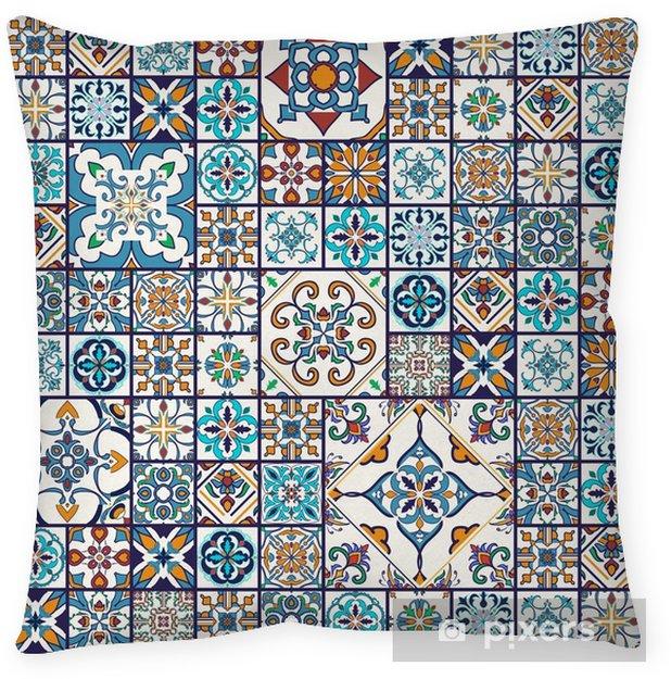 Decoratief sierkussen Vector naadloze textuur. prachtig mega patchworkpatroon voor design en mode met decoratieve elementen - Grafische Bronnen