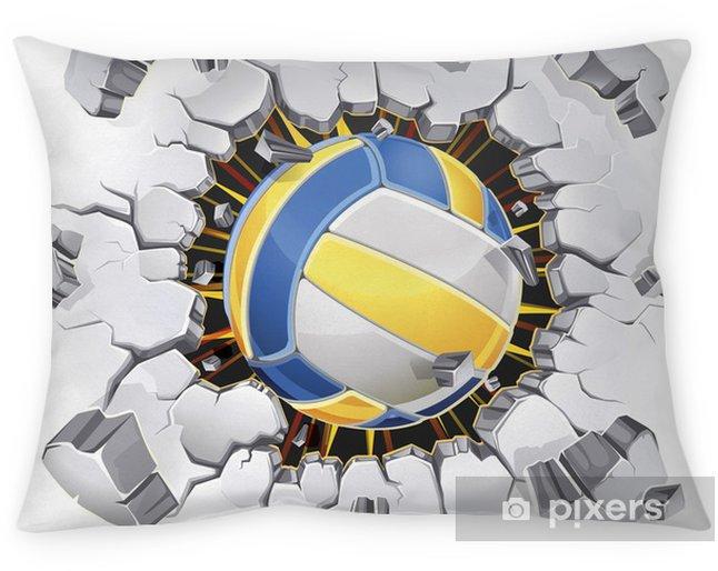 Decoratief sierkussen Volleybal en oude gips muur schade. Vector illustratie - Volleybal