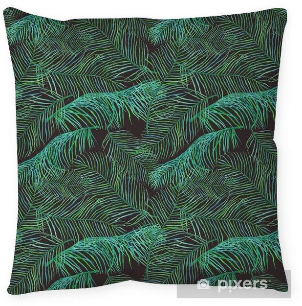 Decoratief sierkussen Watercolor palmbladeren Saemless patroon op een donkere achtergrond. - Bloemen en Planten