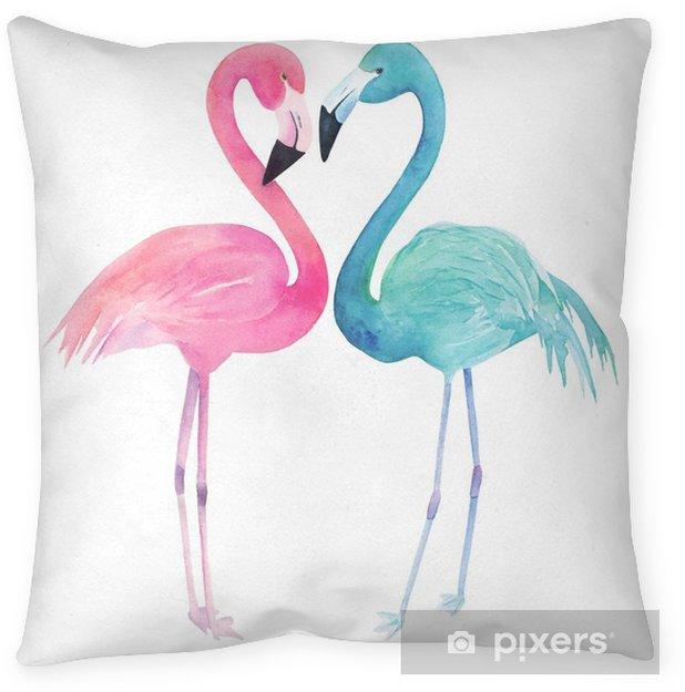Decoratief sierkussen Waterverf twee flamingo's op witte achtergrond. hand getrokken illustratie - Dieren