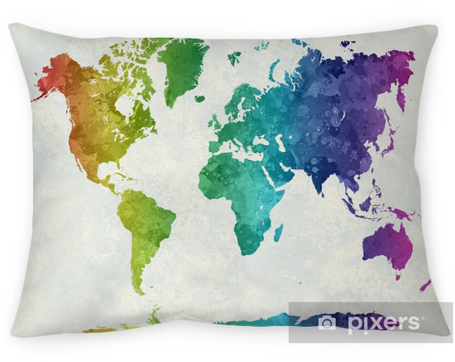 Decoratief sierkussen Wereldkaart in waterverfregenboog - iStaging