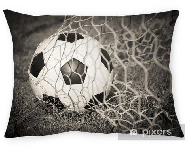 Decoratief sierkussen Zwart-wit: Voetbal in het doel net - Sport