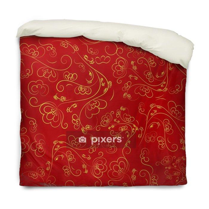 Dekbedovertrek Chinees naadloos patroon van rode kleur met een gouden ornament. - Grafische Bronnen