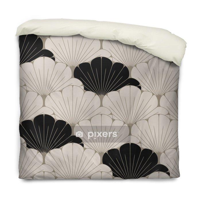 Dekbedovertrek Een Japanse stijl naadloze tegel met exotisch gebladertepatroon in zacht bruin en zwart - Grafische Bronnen