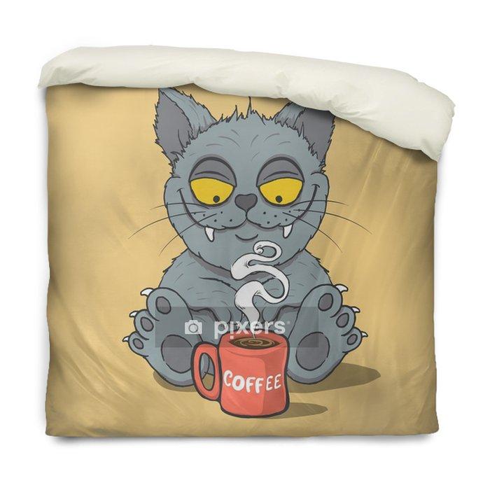 Dekbedovertrek Grappige kat met een kopje koffie in de ochtend. dierlijke characters.cartoon vector illustratie - Eten