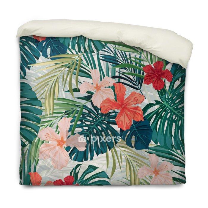 Dekbedovertrek Heldere kleurrijke tropische naadloze achtergrond met bladeren en - Bloemen en Planten
