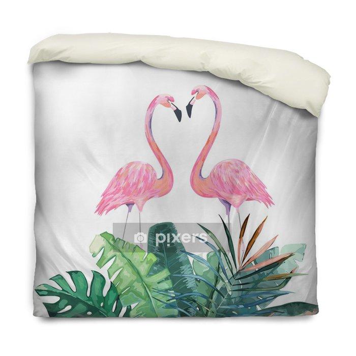 Dekbedovertrek Koppel roze flamingo's. tropische print voor uitnodiging, verjaardag, feest, wenskaart. vectorillustratie - Dieren