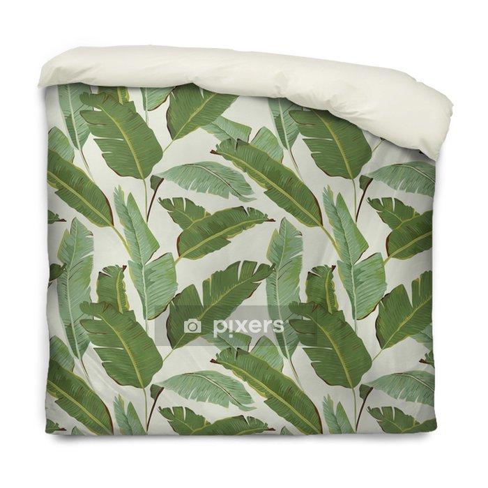 Dekbedovertrek Naadloos Patroon. De tropische Achtergrond van Bladeren. Bananen bladeren - Bloemen en Planten