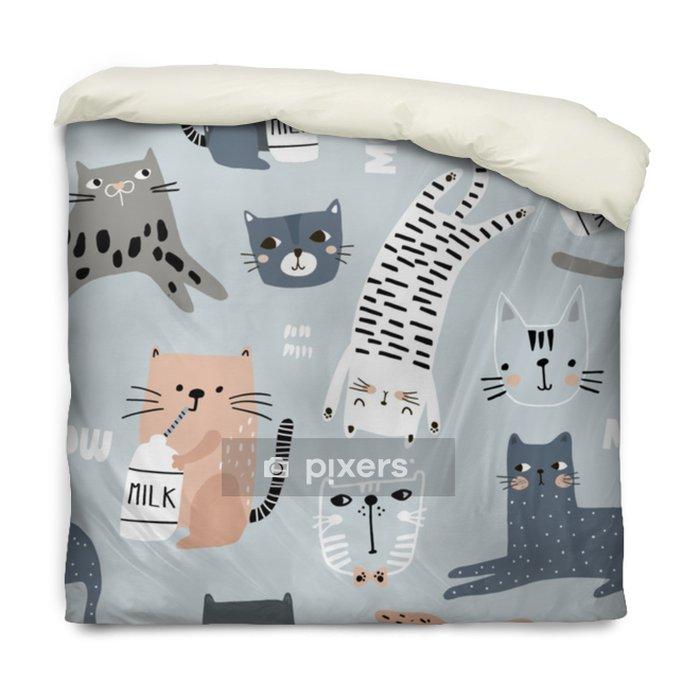 Dekbedovertrek Naadloze patroon met verschillende grappige katten. creatieve kinderachtige textuur. geweldig voor stof, textiel vectorillustratie - Grafische Bronnen