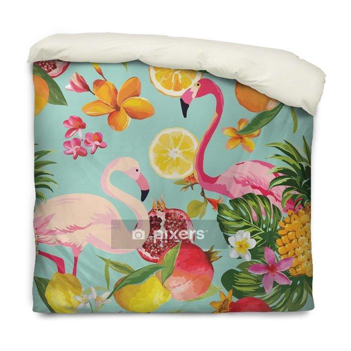 Dekbedovertrek Naadloze tropische vruchten en flamingo patroon in vector. granaatappel, citroen, oranje bloemen, bladeren en vruchten achtergrond. - Dieren