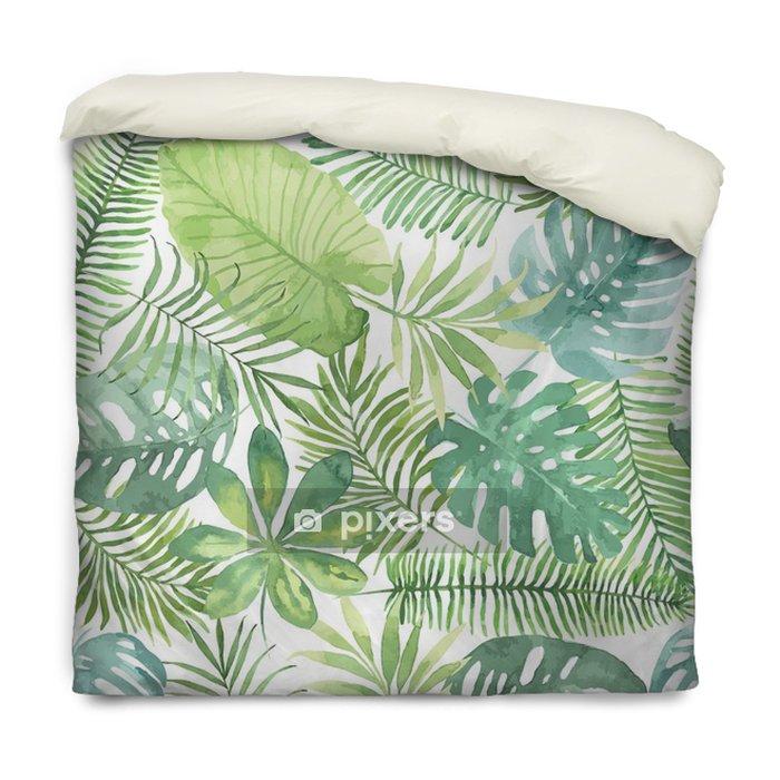 Dekbedovertrek Tropische naadloze patroon met bladeren. aquarel achtergrond met tropische bladeren. - Bloemen en Planten