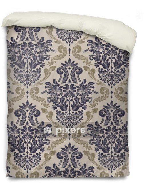 Dekbedovertrek Vector damast naadloze patroon achtergrond. klassieke luxe ouderwetse damast ornament, Koninklijke Victoriaanse naadloze textuur voor achtergronden, textiel, onmiddellijke verpakking. prachtige bloemen barokke sjabloon - Grafische Bronnen
