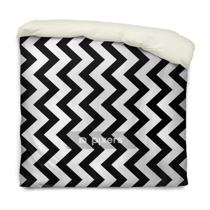 Dekbedovertrek Verticale zigzag chevron naadloze patroon achtergrond in zwart en wit. retro vintage vector ontwerp. - Grafische Bronnen