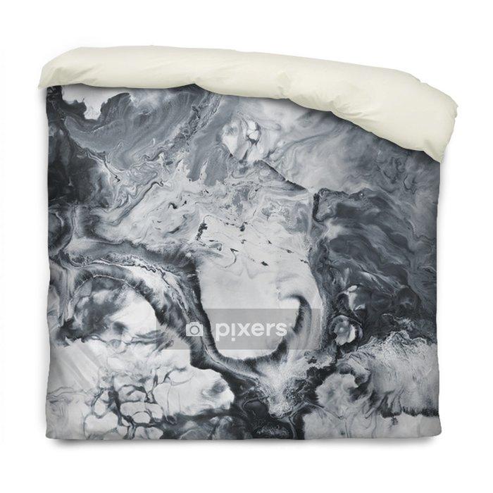 Dekbedovertrek Zwart en wit marmer abstracte handgeschilderde achtergrond - Grafische Bronnen