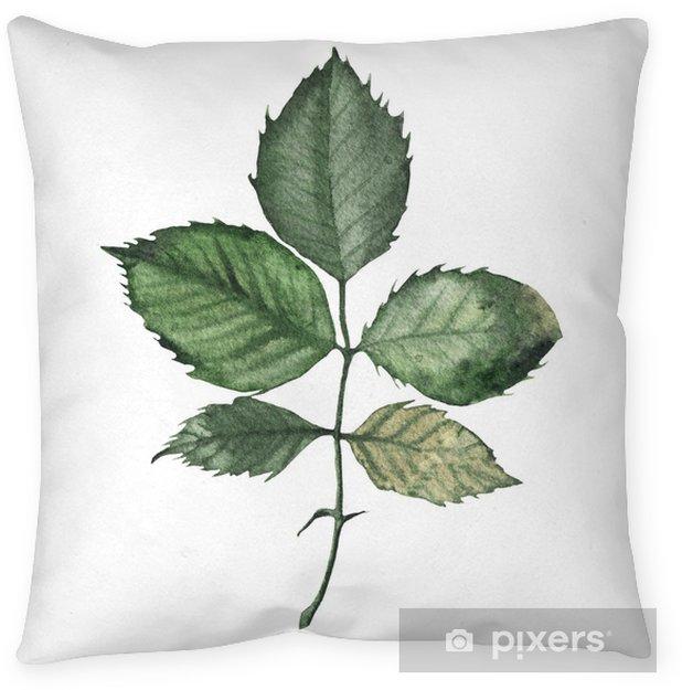 Dekokissen Aquarellgrünblumen-Rosenblattpflanzenwald - Grafische Elemente