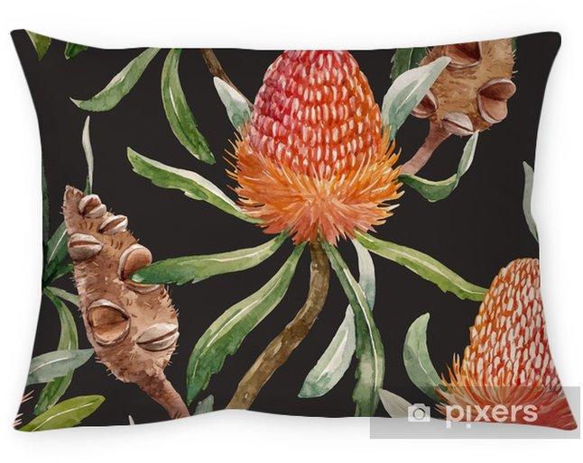 Dekorační polštář Akvarel tropický australský vektorový vzor - Rostliny a květiny