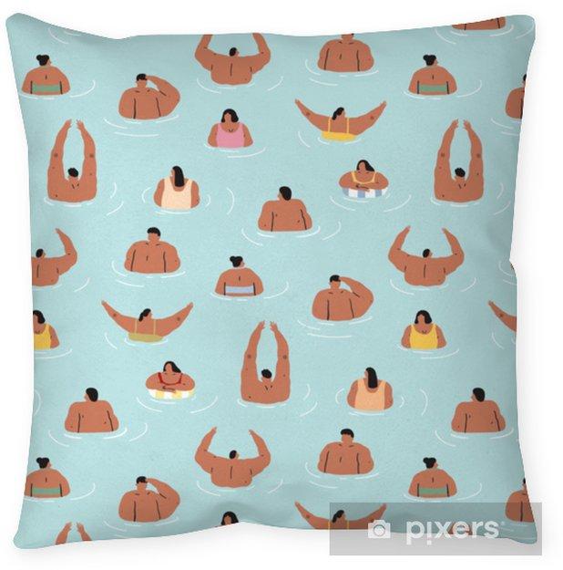 Dekorativ kudde Handritad vektor illustration av människor slappnar av i havsmönstret. människor simmar i en pool.pattern för textil, tyg, förpackningspapper. abstrakt doodle tapeter. - Grafiska resurser