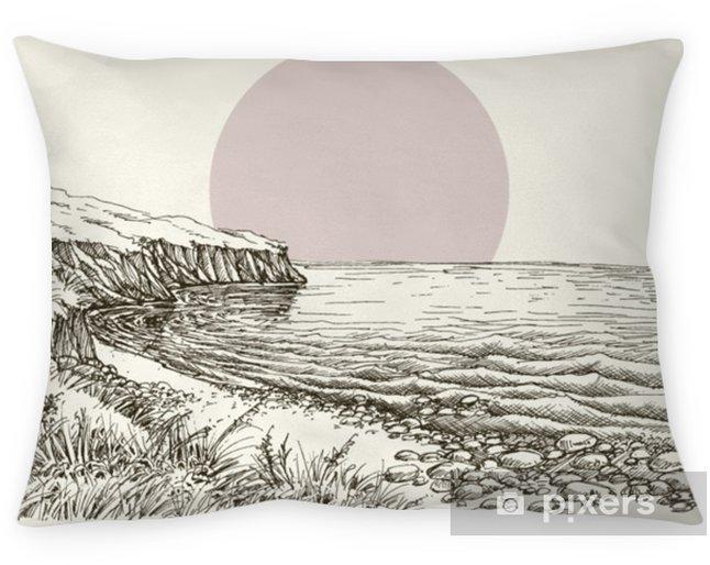 Dekorativ kudde Havs-, strand- och klippskiss - Landskap