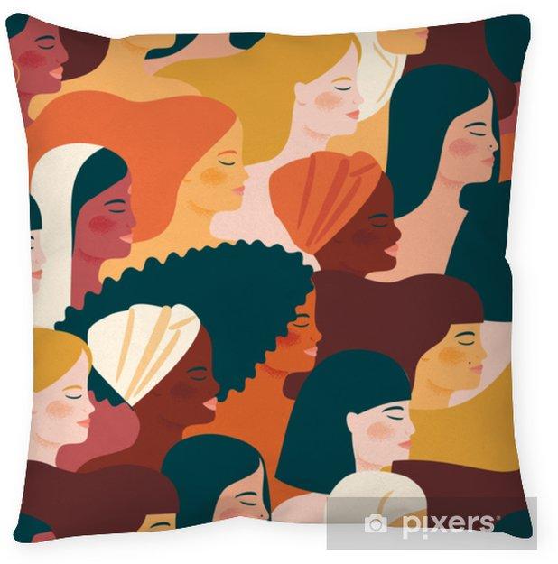 Dekorativ kudde Internationella kvinnodagen. vektor sömlöst mönster med kvinnor olika nationaliteter och kulturer. - Människor