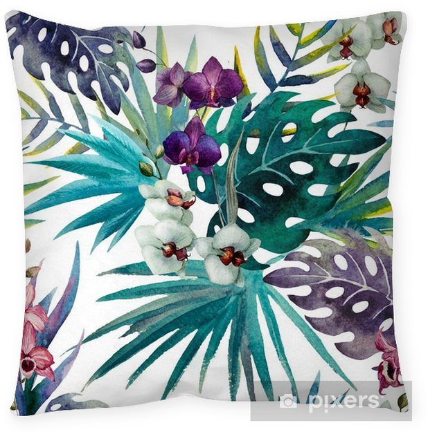 Dekorativ kudde Mönster orkidé hibiskus lämnar vattenfärg tropikerna - iStaging