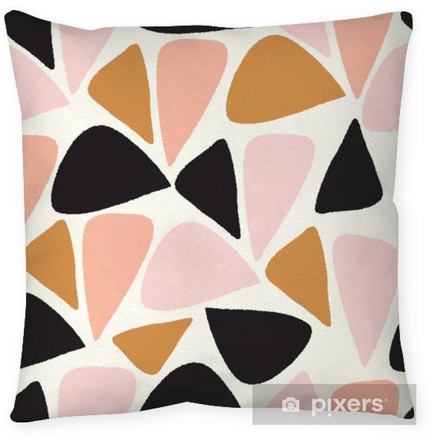 Dekorativ kudde Vektor abstrakt geometrisk sömlös repetitionsmönster i rosa, guld, svart och vitt - Grafiska resurser