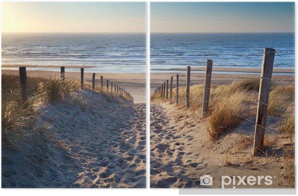 Díptico Camino a la playa del mar del Norte en sol de oro - Destinos