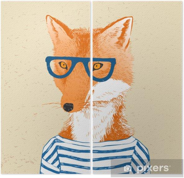 Díptico Dibujado a mano vestida de zorro en estilo hipster - Animales