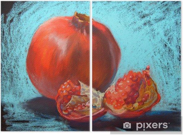 Díptico Ilustração de pintura de pastéis de granada, fundo azul turquesa - Comida