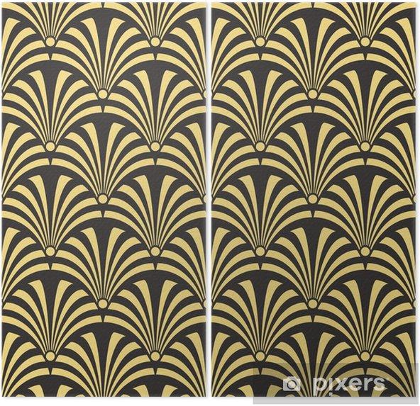 Díptico Paleta de antigüedad sin fisuras patrón de textil de pavo real de lujo negro y oro art deco de vector - Recursos gráficos
