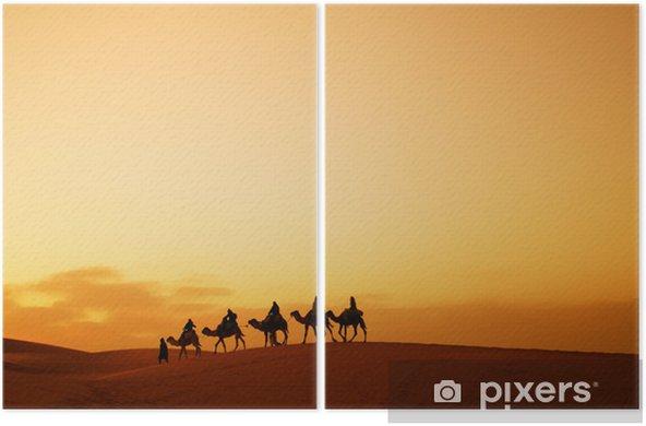 Caravan in Sahara desert Diptych - Desert