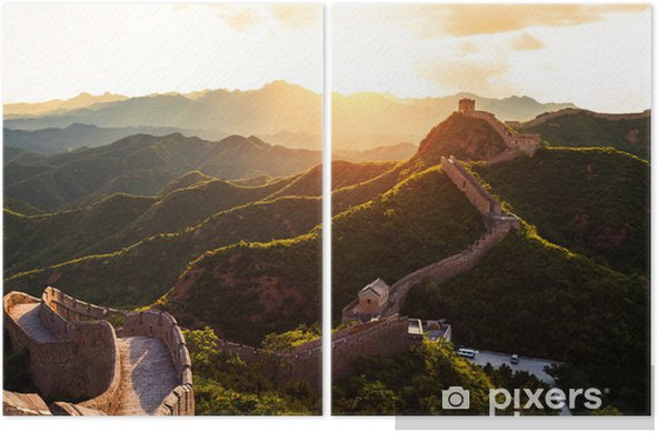 Great wall under sunshine during sunset Diptych - Monuments