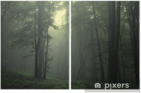 Green forest after rain Diptych - Styles