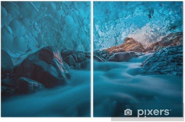 grotta di ghiaccio azzurro con ruscello sottostante Islanda Europa Diptych - Graphic Resources