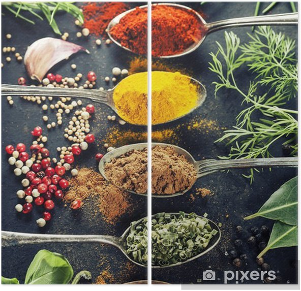 Herbs and spices selection Diptych - Herbs