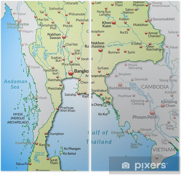 Thailand Karte.Karte Von Thailand Und Umland Mit Hauptstädten Diptych