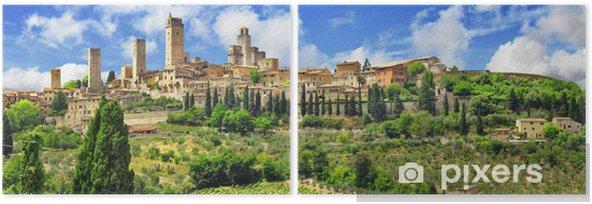 panorama of beautiful San Gimignano, Tuscany. Italy Diptych - Europe