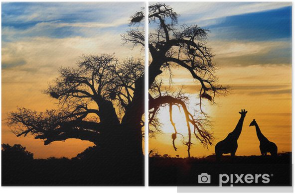 Spectacular African sunset with Baobab and Giraffe Diptych - Themes