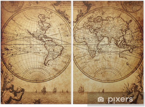 vintage map of the world 1733 Diptych - Themes